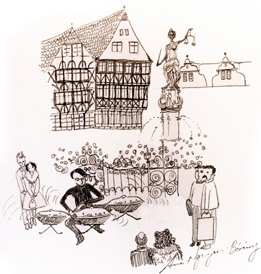 Rafael Sotomayor plays Hang, Römerberg, Frankfurt am Main, drawing by Annie Nguyen-Bárány