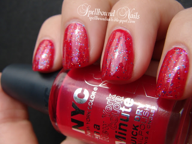 nails nail art nailart nail polish A Week of Glitter New York Color Spellbound red