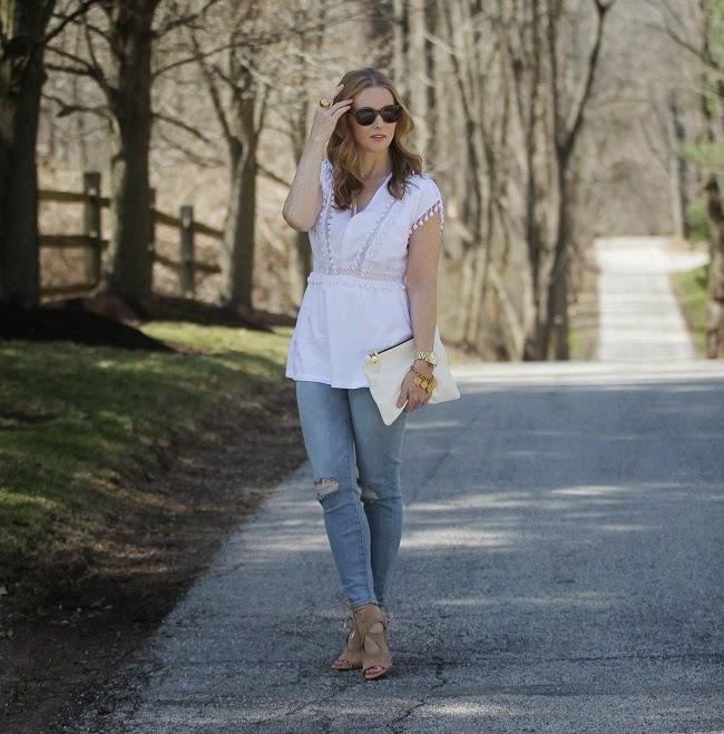 susana monaco top, elizabeth james sunglasses, jbrand jeans, clare v clutch, aquazurra sexy thing shoes