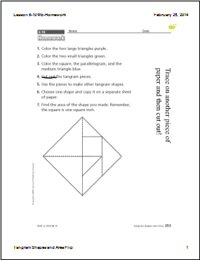 Mr. Fisher Flip's 3rd Grade: Lesson 6-10 - Tangram Shapes and Area