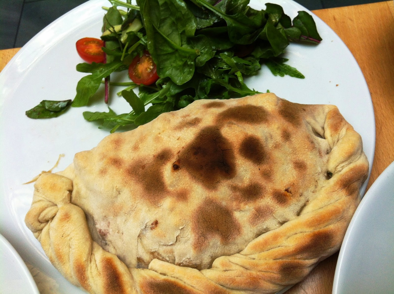 Salad and Calzone with Roast Vegetables, Tapenade, and Fresh Basil