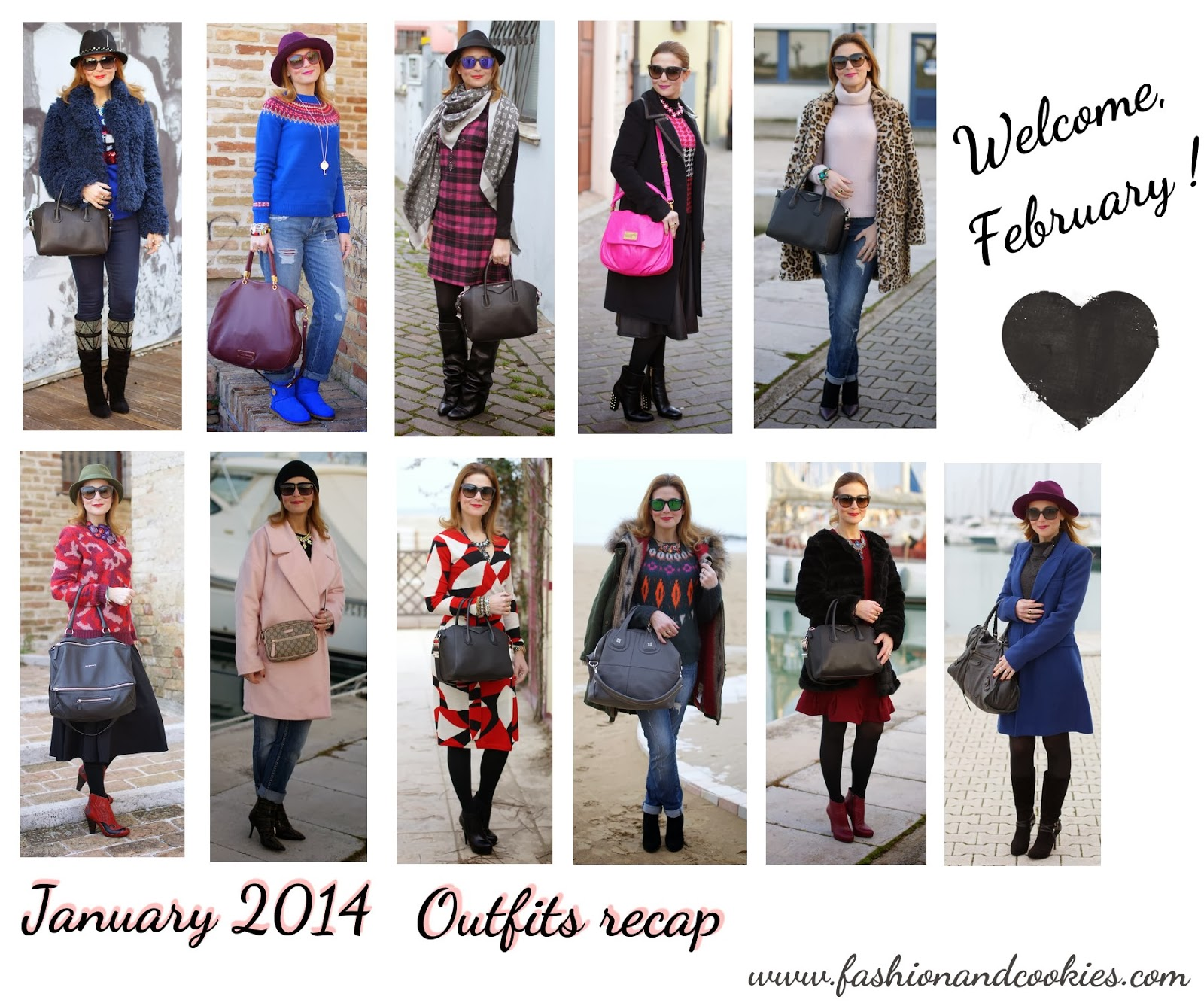 January 2014 outfits recap on Fashion and Cookies, Welcome February