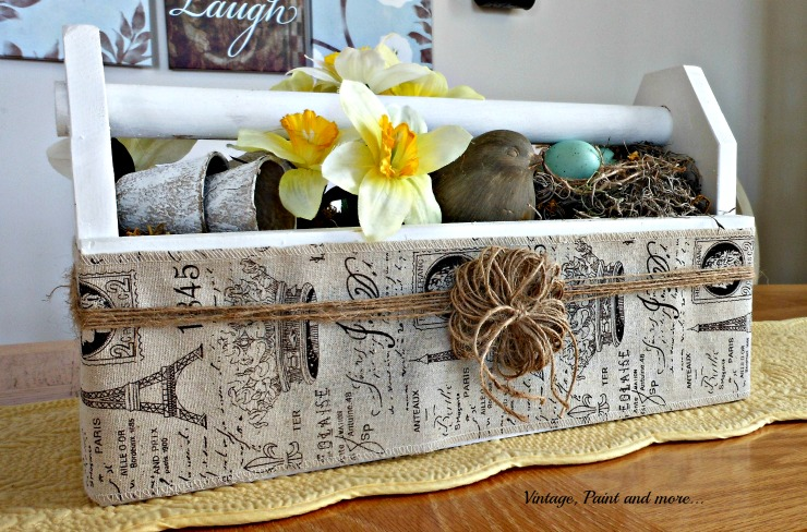 Vintage, Paint and more... vintage toolbox wrapped with French burlap ribbon and twine for a Spring centerpiece