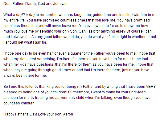 fathers day letter of son send to dad from away