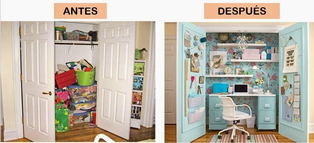 Antes y despu s de un despacho decoraci n patri blanco for Armarios para despachos