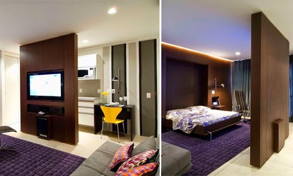 Cama elevada, sala e quarto