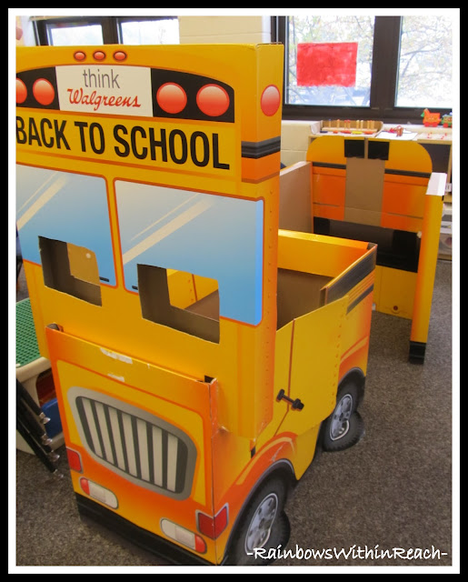 School Bus Reading Center in Preschool via RainbowsWithinReach