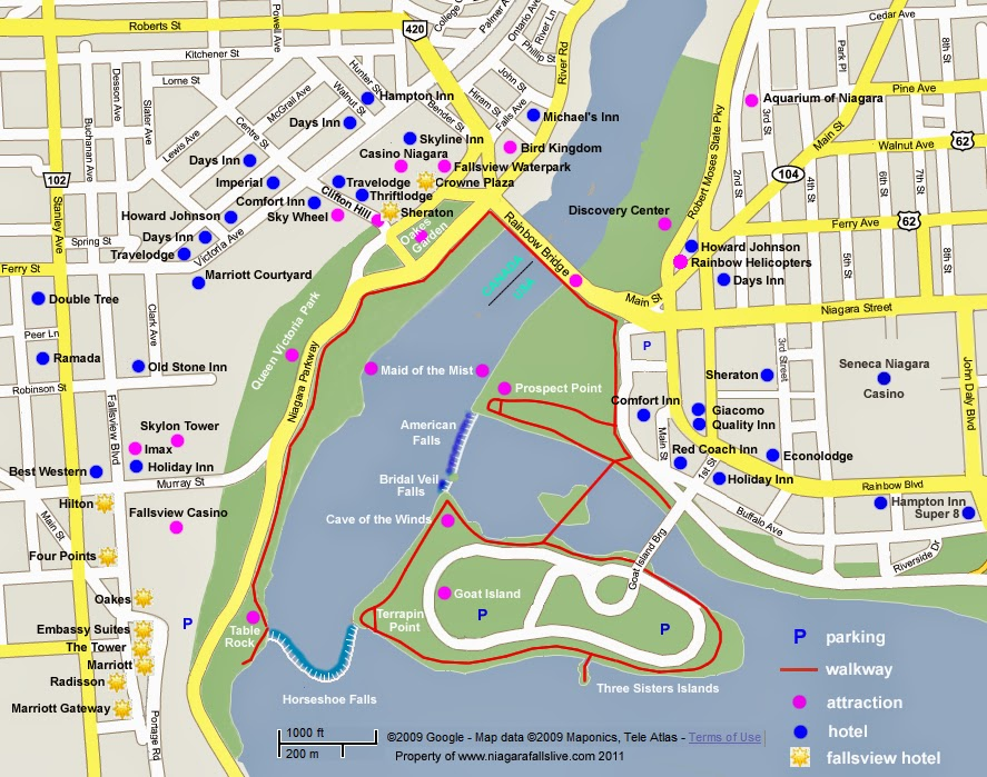Map for Niagara Falls visitors