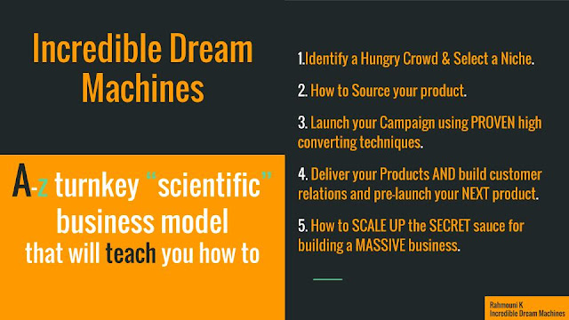 Incredible Dream Machines is a unique  proven  a-z turnkey business model that will teach you how start your own  business and Make $110,000 in UNDER 24 hours.