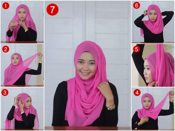Tutorial Hijab Segi Empat Simple Casual - Model Jilbab
