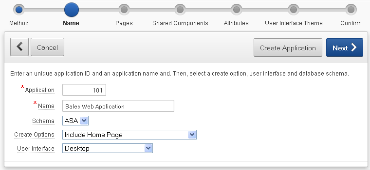 how to create a database application
