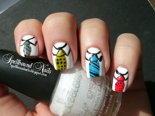 fathers day ties nails nail art manicure happy