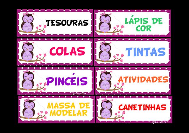 Etiquetas para organizar material Corujinha