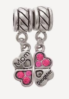 Image: Godagoda Antique Silver Color Clover Mom Daughter Dangle Beads Fits Charm Bracelet Pack of 2pcs