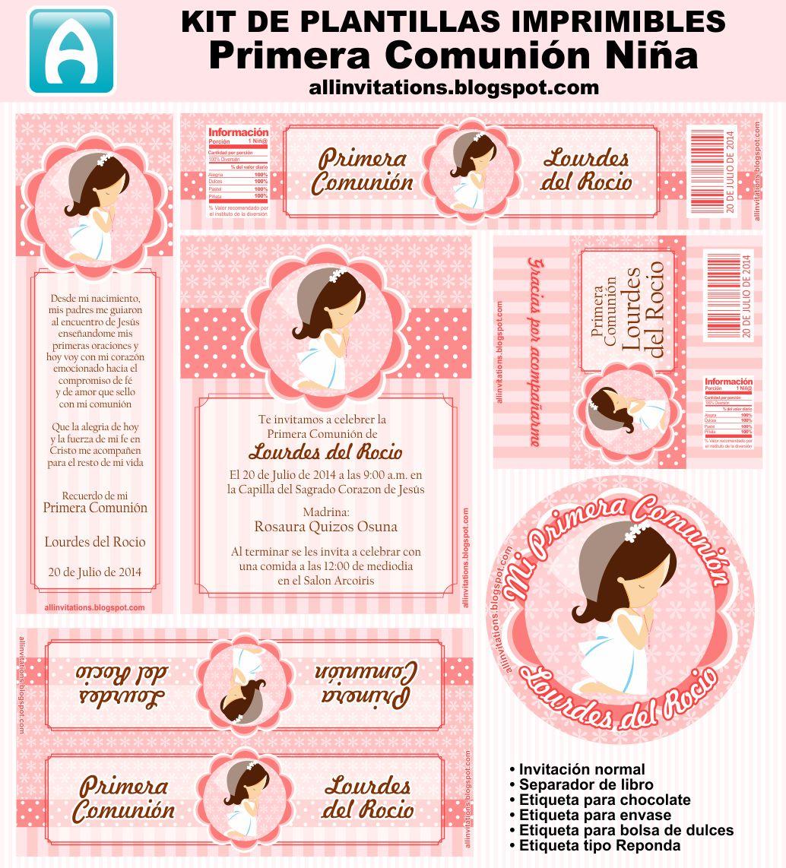 Kit imprimible de plantillas para primera comunión de niña