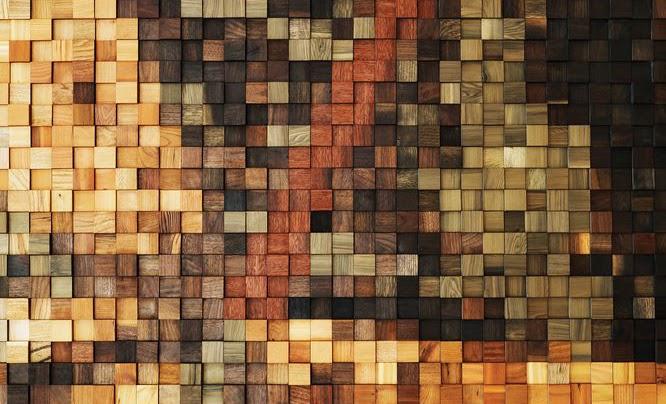 Un mosaico de madera gigante para el escaparate de una - Mosaico de madera ...