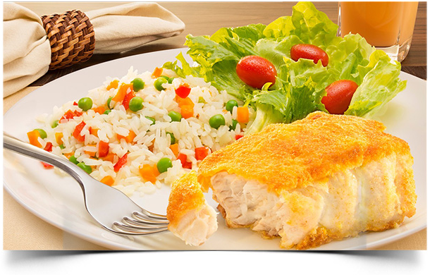 receita de arroz a grega e peixe empanado com fubá