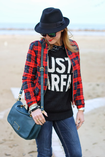 checked jacket, just parfait sweater, Fashion and Cookies, fashion blogger