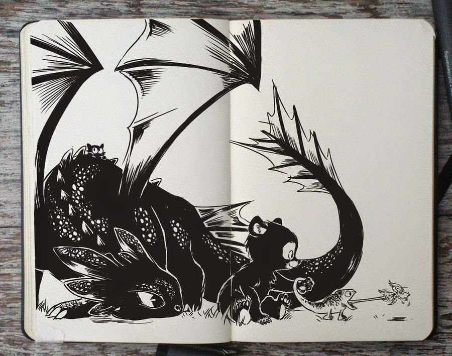 32-Toothless-Gabriel-Picolo-365-Days-of-Doodles-end-of-2014-www-designstack-co