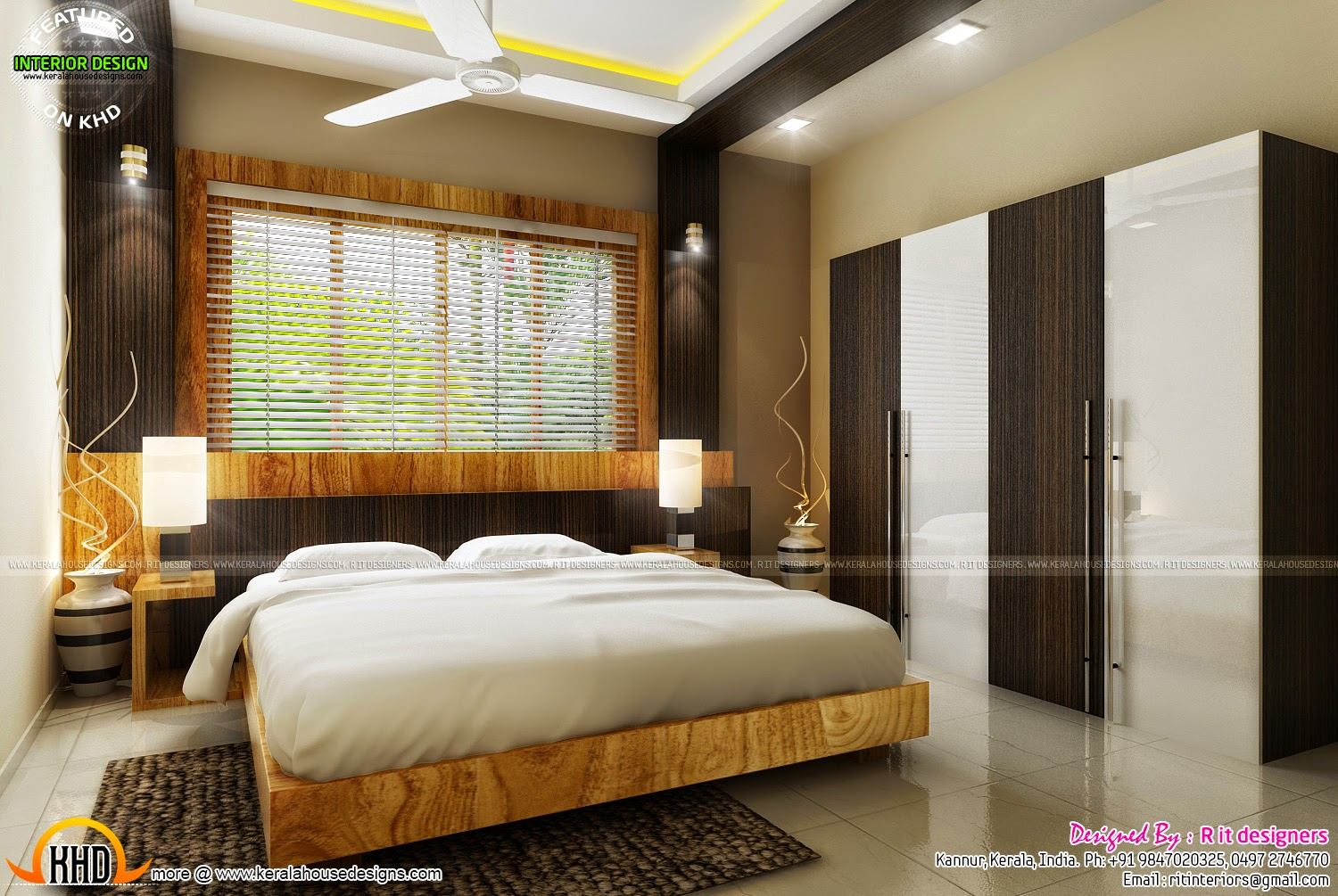 Bedroom interior design with cost kerala home design and for Bed interior design picture