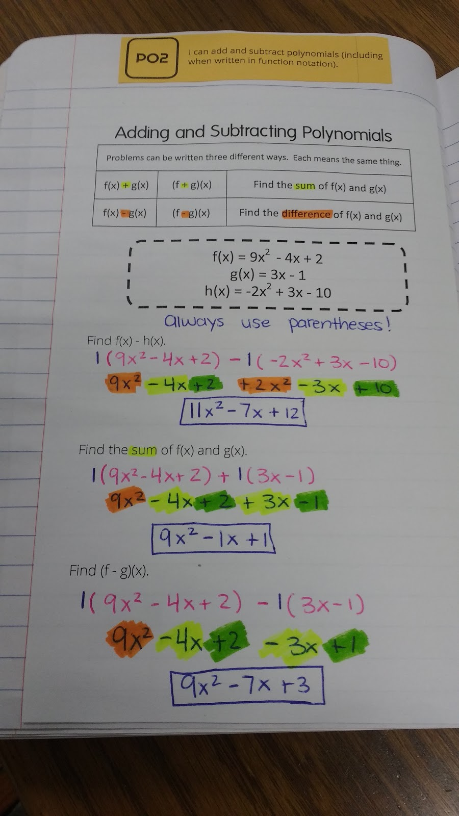 Adding polynomials worksheet easy
