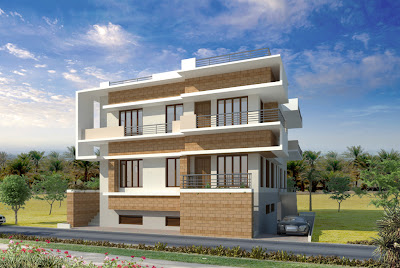 Here is Contemporary residential building 3D view from Architect