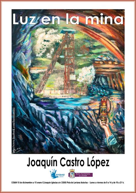 Cartel de la exposición de pinturas de Joaquín Castro en Laviana