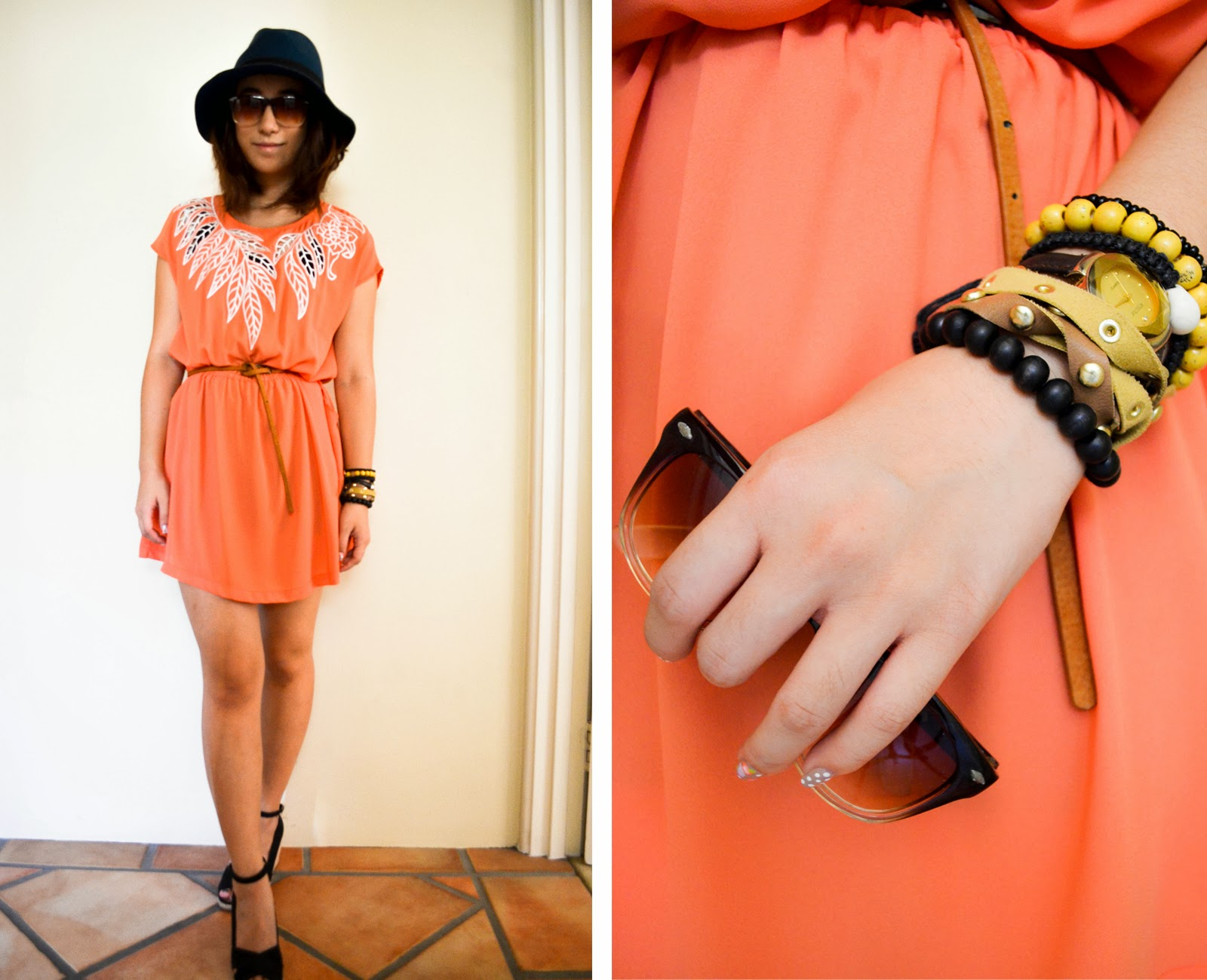 outfit inspiration looks fedora hat styling dress chiffon belt bracelet arm candy sunglasses summer heels