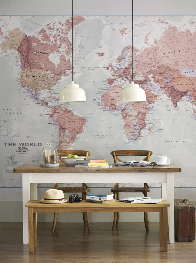 Another great idea world map wallpaper wallpaper here was included in a lovely photosession created by the stylist sarita sharma and shot by the photographer dominic blackmore for ideal home gumiabroncs Images