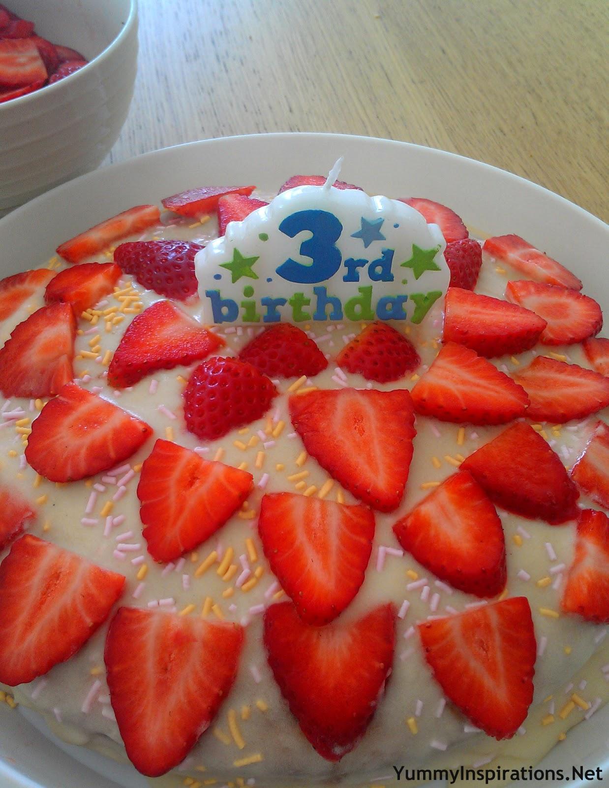 3rd Birthday Cake Hot Milk Sponge Yummy Inspirations