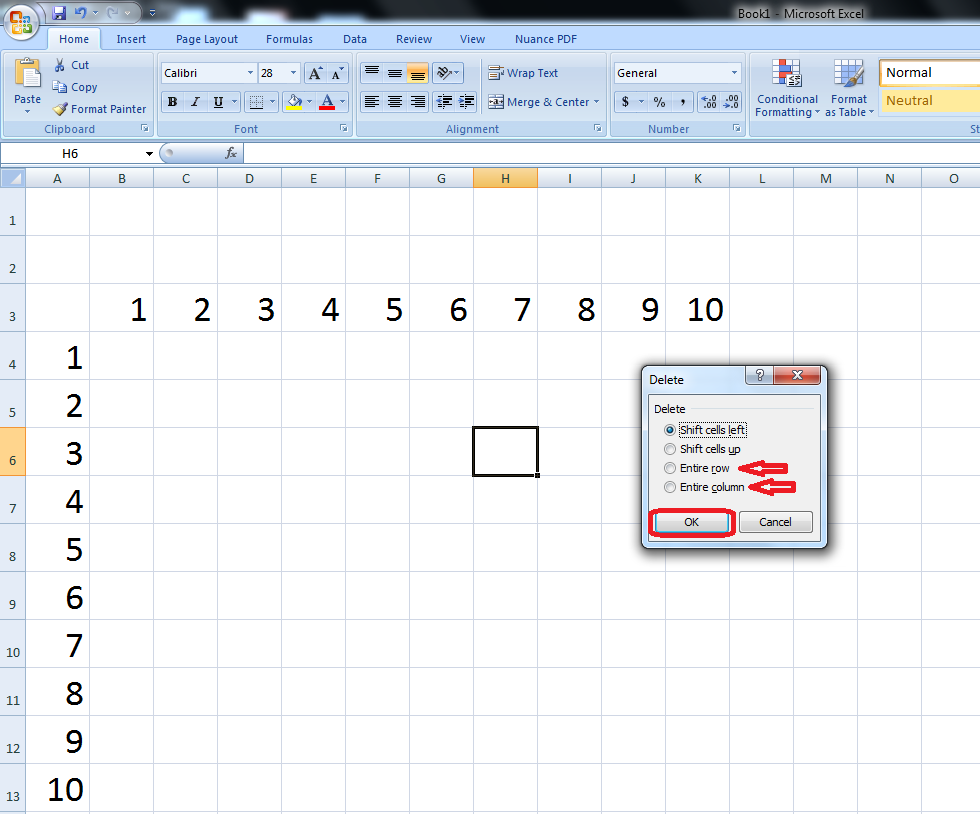 Shortcut Key for Delete/Insert Column & Rows in MS Excel