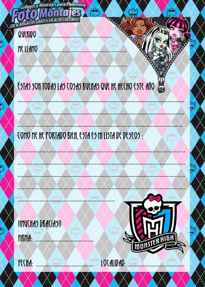 Cartas Navidad Monster High
