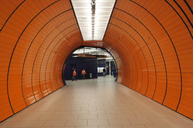 Bright Orange of Marienplatz subway station in Munich, Germany