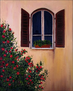 Italian oil painting of rose bushes growing next to opened window.