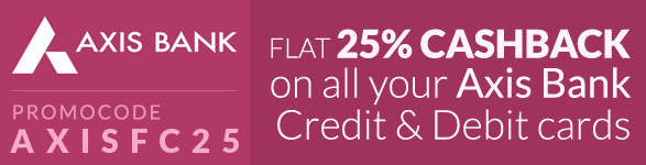 Freecharge 25% Cashback Offer for Axis Bank Debit/Credit Card Users