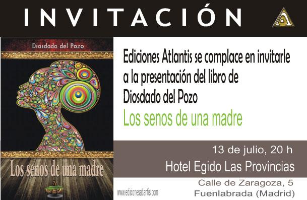 """Invitación a la presentación del libro de Diosdado del Pozo """"Los senos de una madre"""""""