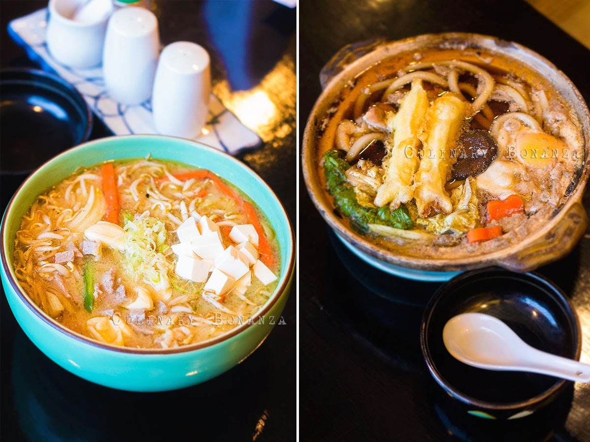 Left: Yasai Shoyu Ramen | Right: Nabeyaki Udon