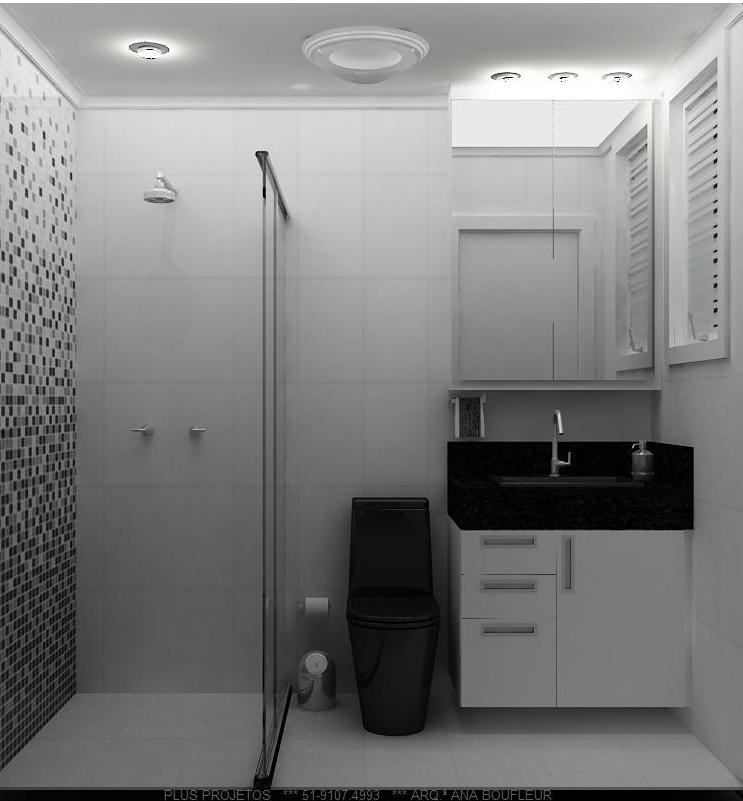 BANHEIRO COMPACTO -> Banheiro Com Pastilha Preta E Branca