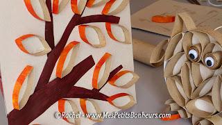 activité arbre automne en rouleaux de papiers toilettes
