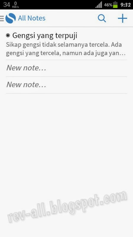 Tampilan Utama Simplenote - aplikasi notepad kecil ringan dan simpel untuk android 4.0.3 dan ke atas support cloud(rev-all.blogspot.com)