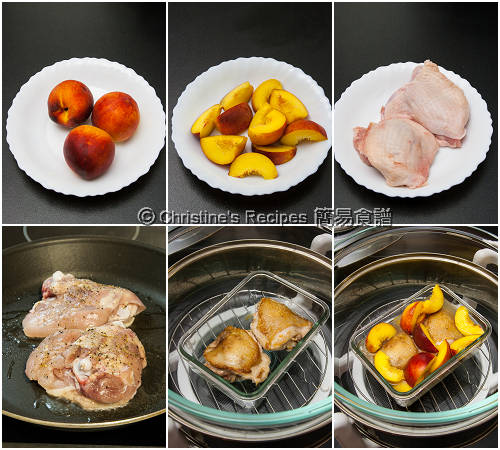 烤焗蜜桃雞腿製作圖 How To Make Baked Chicken Thighs with Peaches