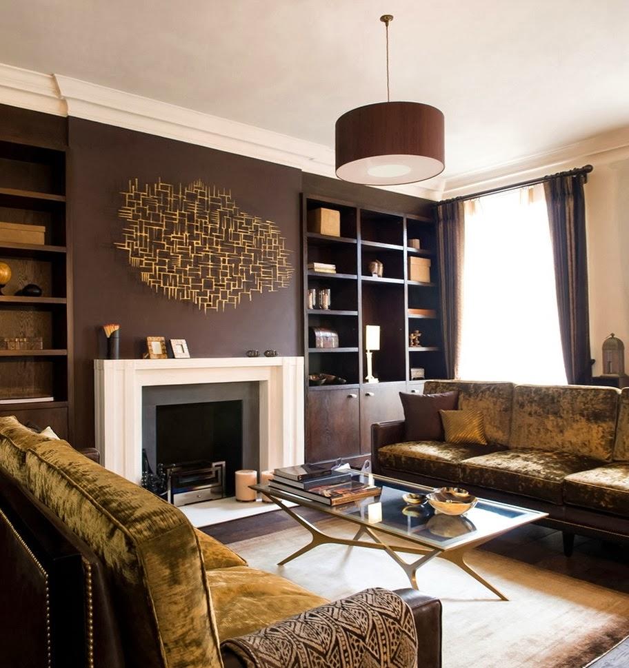 Salas en color chocolate salas con estilo for Cortinas salon marron