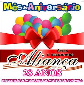 Ótica e Relojoaria Aliança completa 28 anos nesse mês de julho e quem ganha o presente é você.