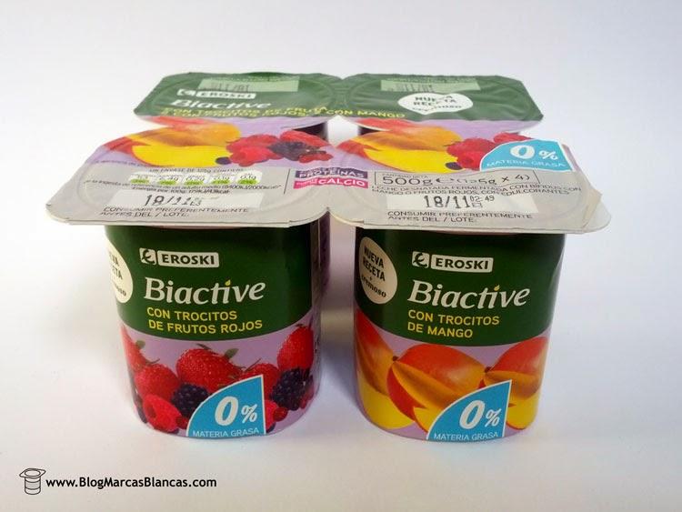 """Yogur con bífidus con frutos rojos o mango """"Biactive"""" EROSKI"""