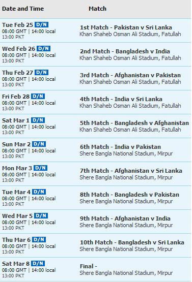 Asia Cup 2014 Fixtures