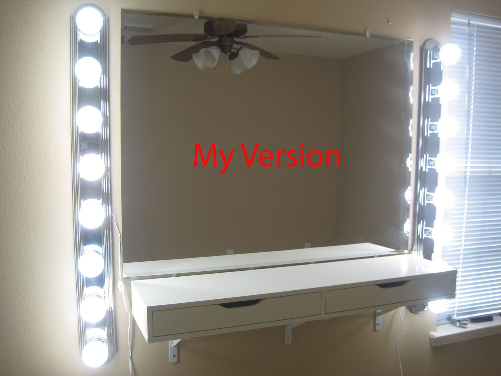 chabz diy vanity mirror and lights. Black Bedroom Furniture Sets. Home Design Ideas