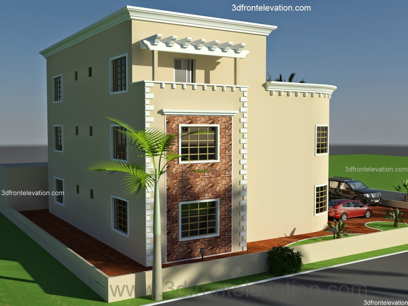 3d front oman new arabian villa plan design New duplex designs