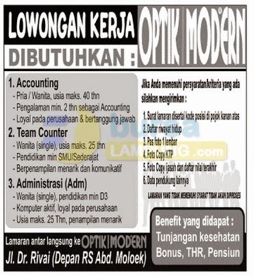 Lowongan Kerja Lampung, 20 Agustus 2014 - OPTIK MODERN