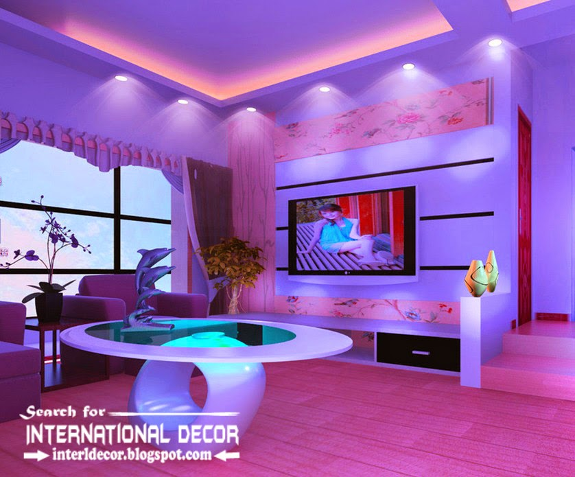 Home other32false ceiling pop designs with led ceiling for Led lighting ideas for living room