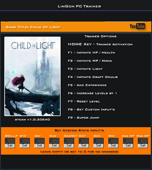 Child Of Light v1.0.30640 Steam Trainer +19 [LinGon]